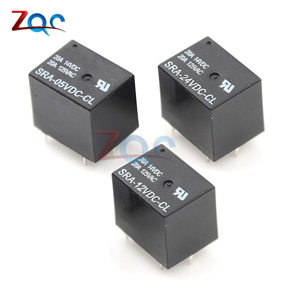Mini PCB Relay DC 5//12//24V SPDT 5 Pin 20A Power PCB Relay Songle Relay