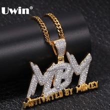 UWIN-collar de asfalto con letras motivadas por dinero, cadena de circonia cúbica AAA, colgante de joyería de hip-hop de hombres y mujeres