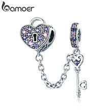 BAMOER 100% 925 ayar gümüş anahtar kalp kilit kristal CZ zincir Charms Fit Charm bilezikler & kolye zincir takı SCC772