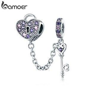 Image 1 - BAMOER 100% 925 ayar gümüş anahtar kalp kilit kristal CZ zincir Charms Fit Charm bilezikler & kolye zincir takı SCC772