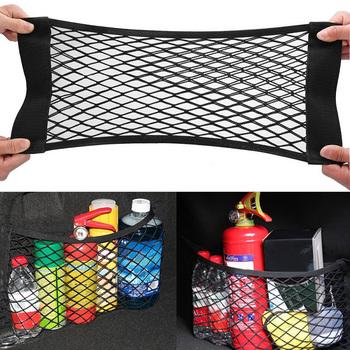 Samochód z powrotem tylny fotel w bagażniku elastyczne stringi netto magiczna naklejka siatkowa torba do przechowywania kieszeń klatka organizator samochodowy oparcie siedzenia torba tanie i dobre opinie QCMAPR CN (pochodzenie) Pojemnik do bagażnika Torba Nylon Car trunk mesh net Black 40 x 25cm 50 x 25cm 60 x 25cm 80 x 25cm