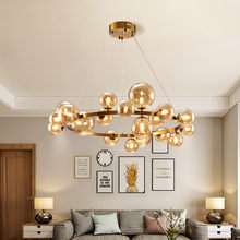 Candelabro redondo de Metal G9 para iluminación de interiores, lámpara colgante moderna de oro/Negro estilo nórdico, con diseño de globo de cristal