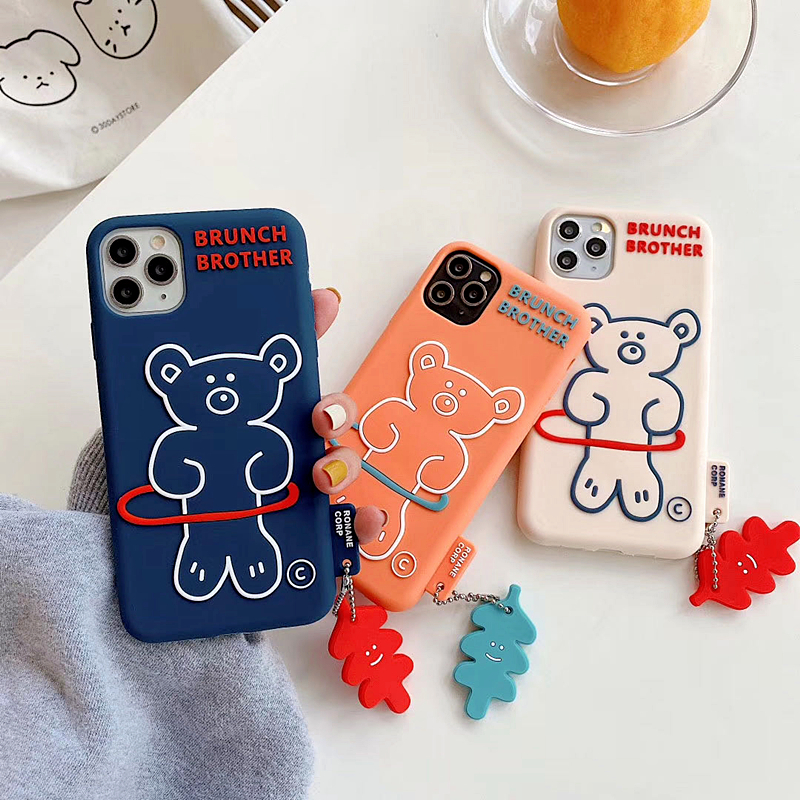 3D Cartoon Cute bear Phone Case For iPhone 11 Pro X XS Max Xr 8 7 6Plus Korea INS Anime Hula Hoop bears Soft Silicon Cover Coque