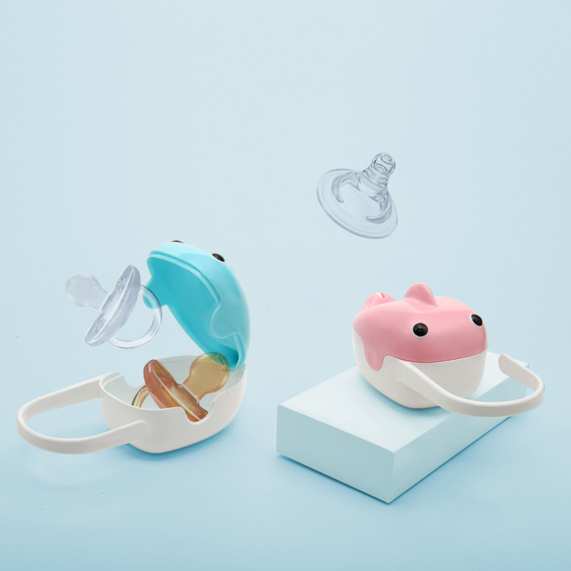 Baby Solid Pacifier Box Portable Cute Whale Shape Kids Pacifier Nipple Cradle Holder Travel Storage Case PP Plastic Pacifier Box