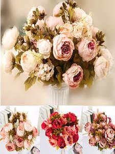 Silk Flower Peony Fake-Leaf Xmas-Decoration 1-Bouquet Wedding Home-Party 13-Heads Fall