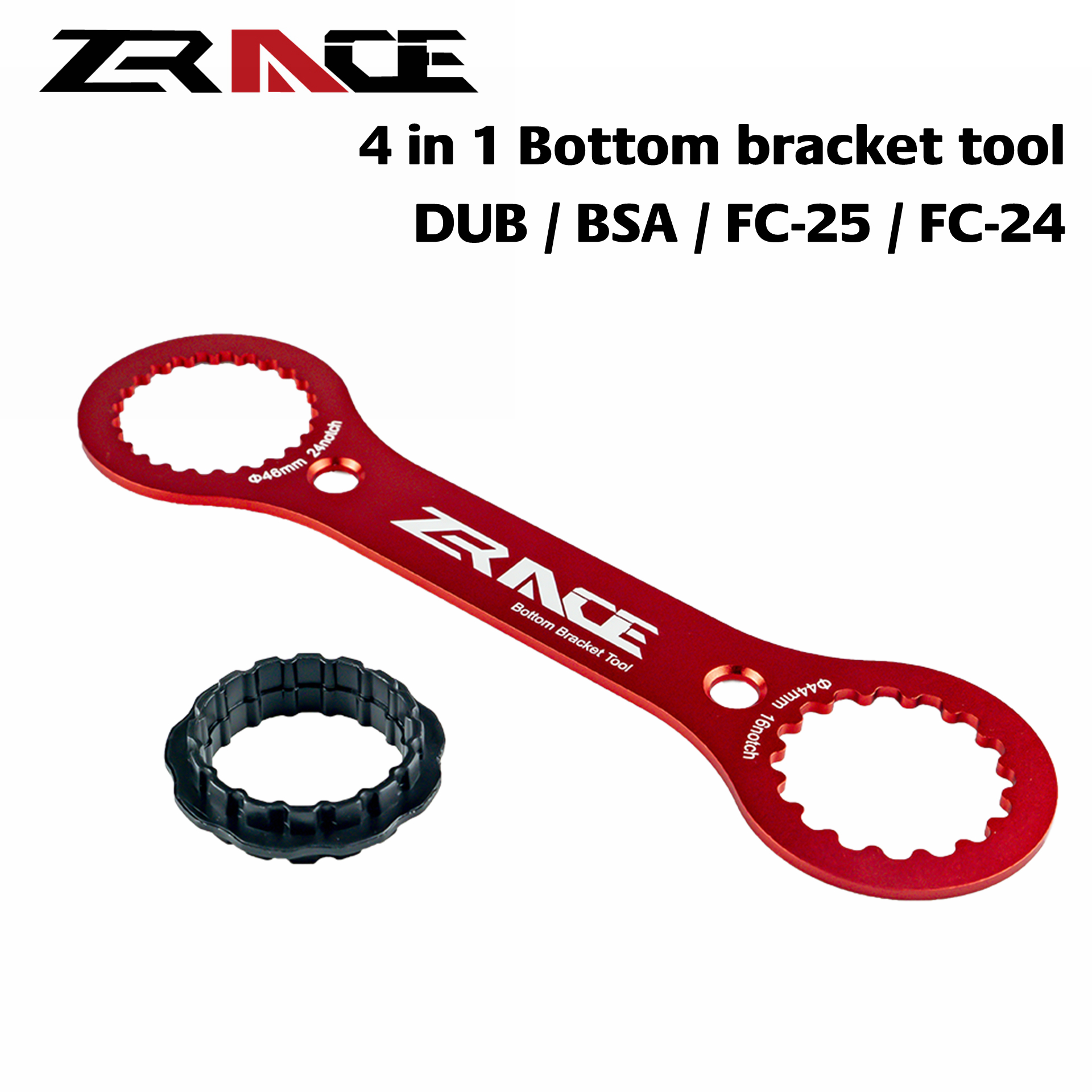 ZRACE 4 In 1 Bottom Bracket Wrench Tool , Compatible With SRAM DUB, SHIMANO BSA / FC-25 / FC-24, CNC AL7075  DUB-BSA TOOLS