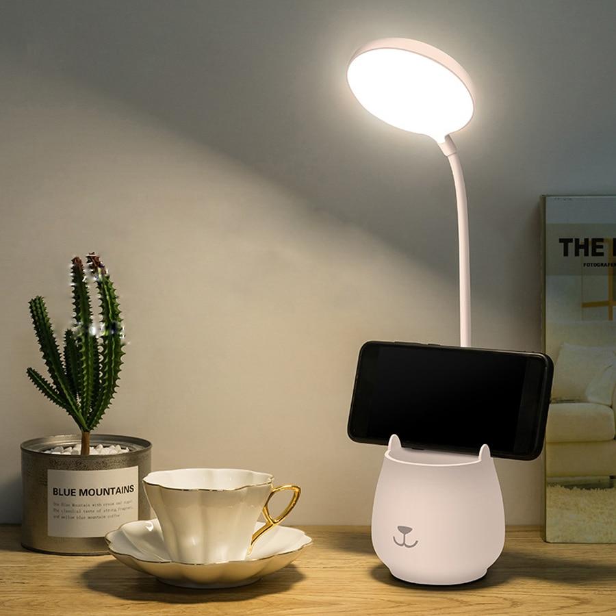 Современная Гибкая светодиодная настольная лампа с держателем для ручек, гибсветодиодный приглушаемые Led светильники с подключением к Usb, н...