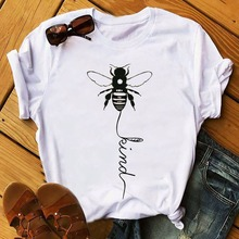 bee kind tshirt women graphic tops punk christmas shirt 2019 japanese casual letter o-neck tees aesthetic 90s pink