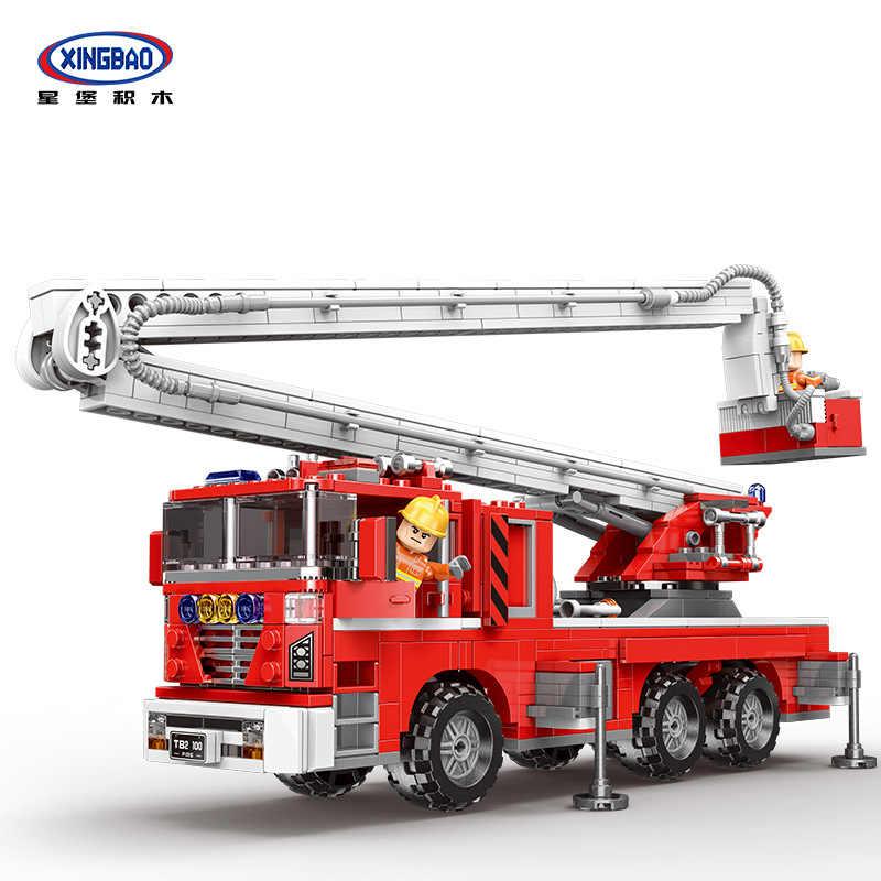 XINGBAO bloques de construcción aeropuerto tanque de agua camión de bomberos elevador de alta escalera aérea camión de bomberos educativo ensamblado pequeñas partículas U