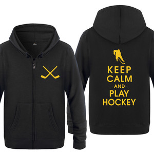 Keep Calm and Play Hockey толстовки, новинка 2018, мужские флисовые толстовки на молнии с капюшоном, кардиганы