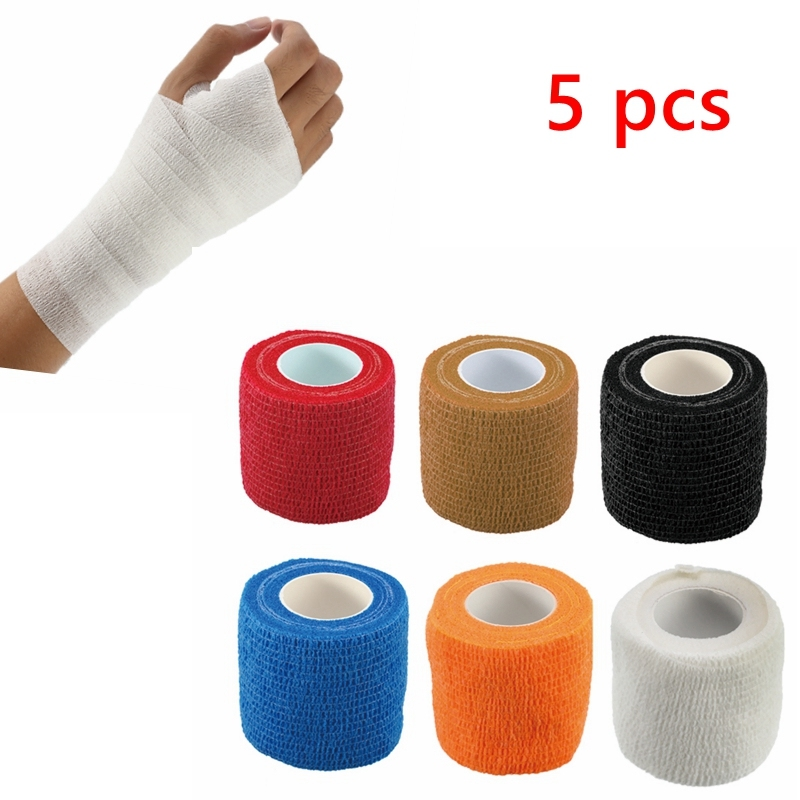 5Pcs Self-Adhesive Elastic Bandage First Aid Medical Health Treatment Gauze Tape Emergency Muscle Tape First Aid Tool 5cm*4.5m