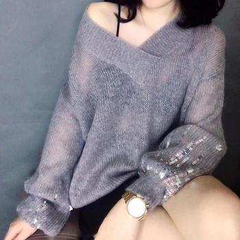 цена на Ladies sweater mohair thin needle lazy wind sweater tide knit sweater 2020 new V-neck long-sleeved sequin knitted pullover