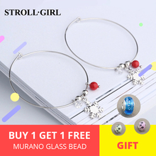 New Fashion zircon&red stone&Snowflake 925 sterling silver big hoop earrings for women Jewelry gifts free shipping