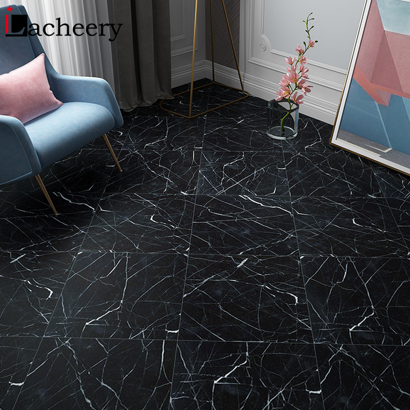 black marble tile wall decal vinyl waterproof self adhesive wallpaper floor stickers renovation living room bathroom home decor