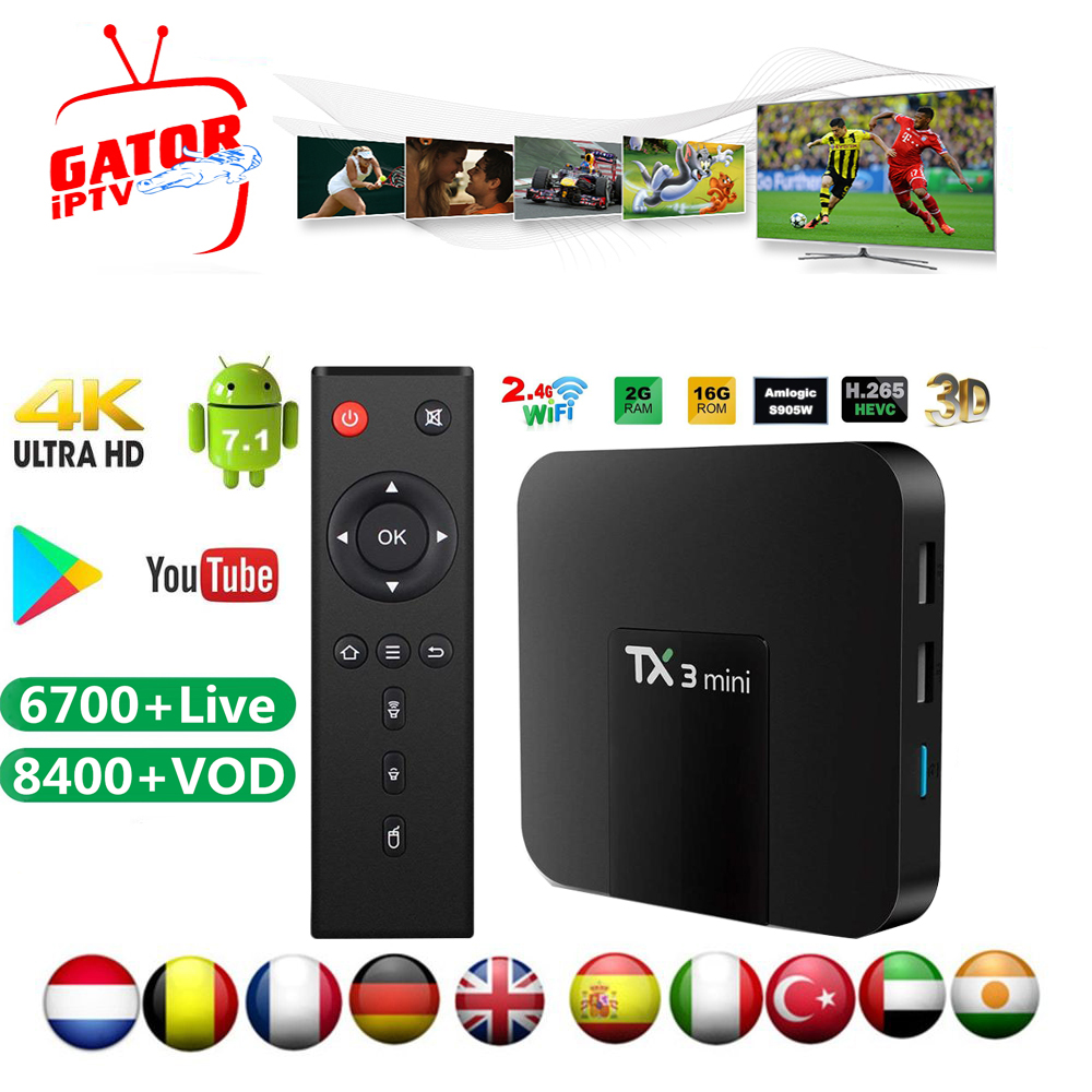Tanix TX3 Mini Android Smart TV Box+1 Year Gator IPTV Subscription Amlogic S905W Quad Core H.265 Set-top Box IPTV Boxes Player
