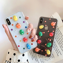 Chocolate Beans Candy Phone Case For iPhone X 6 6s 7 8 Plus XS MAX XR Soft Silicone TPU 3D Cute candy Clear Cover