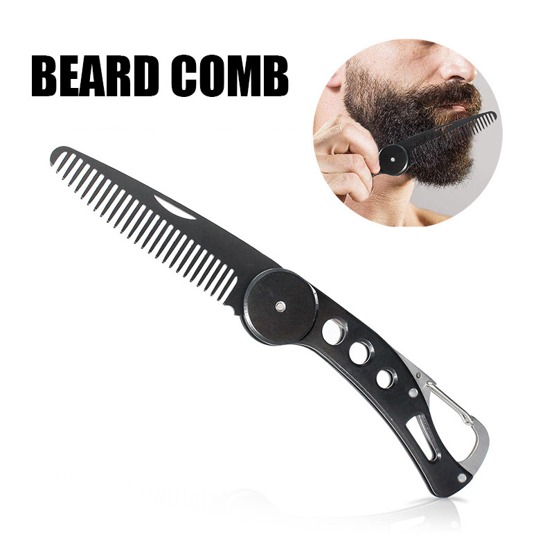 1pc Foldable Steel Hair Comb Folding Detangling Beard Comb Anti-static Oil Slick Hairstyling Portable Travel Hair Brush Home Use