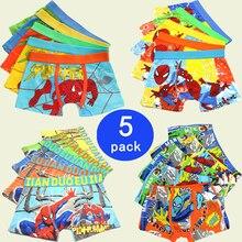 5 Pcs/lot Boys Boxer Childrens Cotton Underwear Spiderman Cartoon Boy Boxers 3-11T