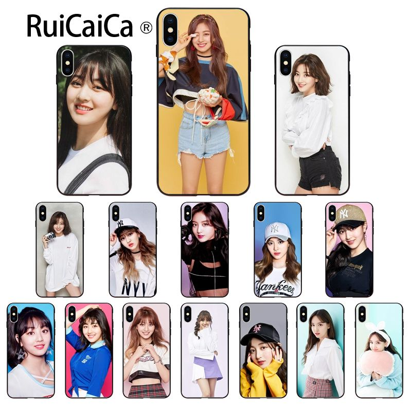 Ruicaica Korean <font><b>kpop</b></font> twice Jihyo DIY Painted Phone Accessories <font><b>Case</b></font> for <font><b>iPhone</b></font> 8 7 6 6S Plus 5 5S SE XR X XS MAX Coque Shell image