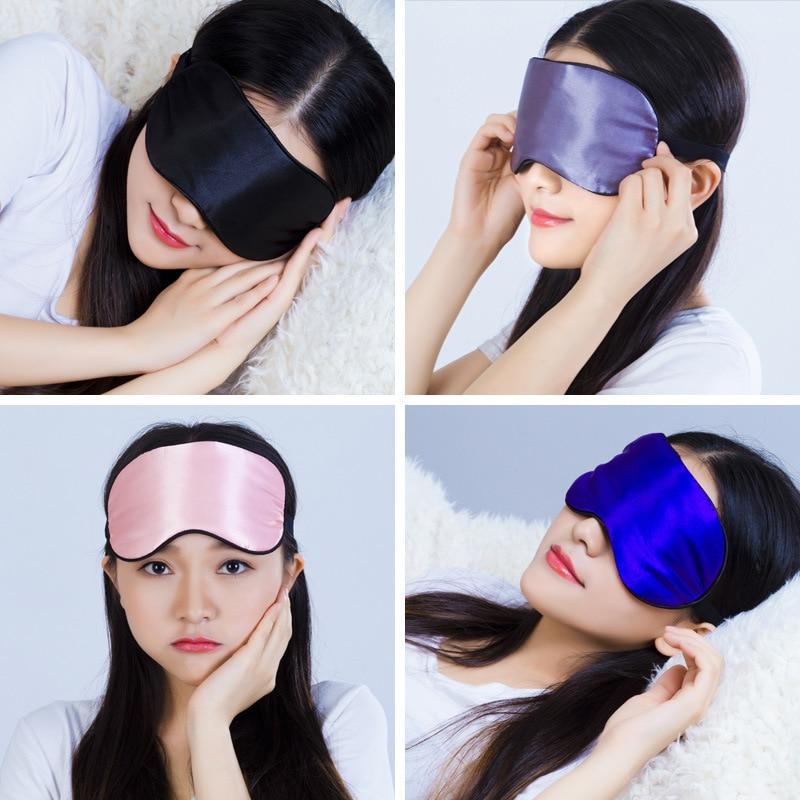 1pcs Eye Cover Silk Sleep Eye Mask Sleeping Padded Shade Patch Eyemask Blindfolds Women Men Travel Relax Rest