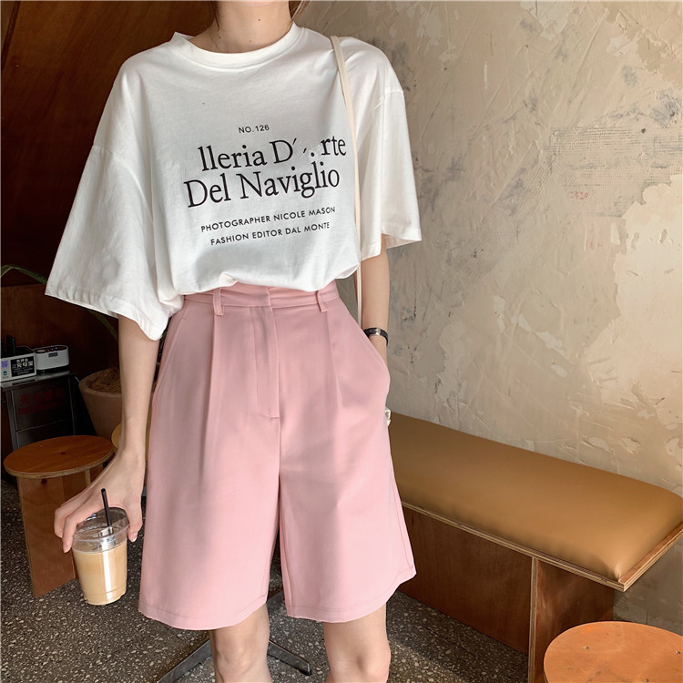 H1f324b0745db4f75b1bae902c0274c0fZ - Summer High Waist Wide Leg Loose Solid Shorts