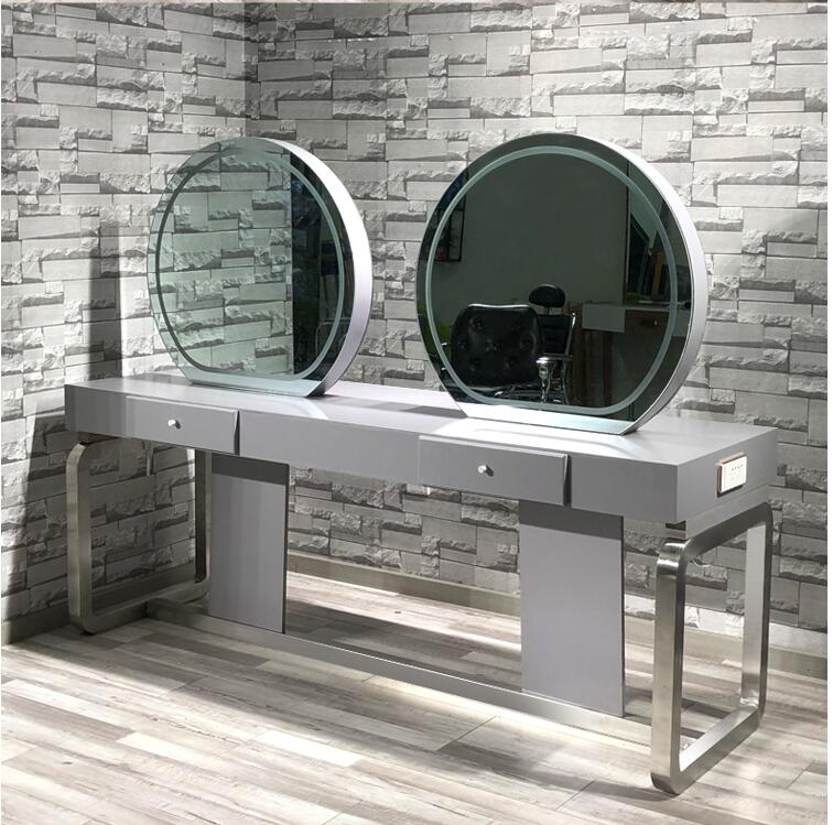 Hairdressing Mirror Specially Designed For Barbershop Mirror Stage And Hair Salon Simple Web Celebrity Double-sided Mirror Style
