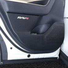 Para Toyota RAV4 2019 2020 XA50 coche de cuero genuino puerta almohadillas para patadas Accesorios