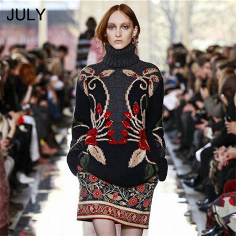 Luxury Runway Designer Wool Sweater Women 3D Flora Embroidery Vintage Knitwear Winter Turtleneck Pullover Warm Jumper