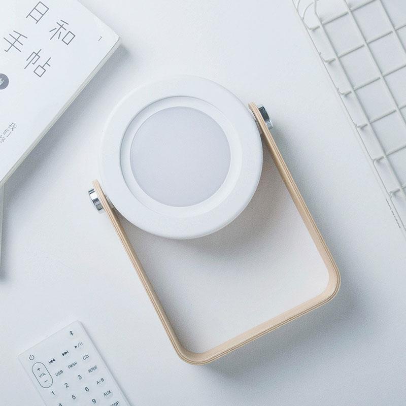 Wooden Handle Portable Lantern Lamps Foldable LED Charging Table Lights O4C4