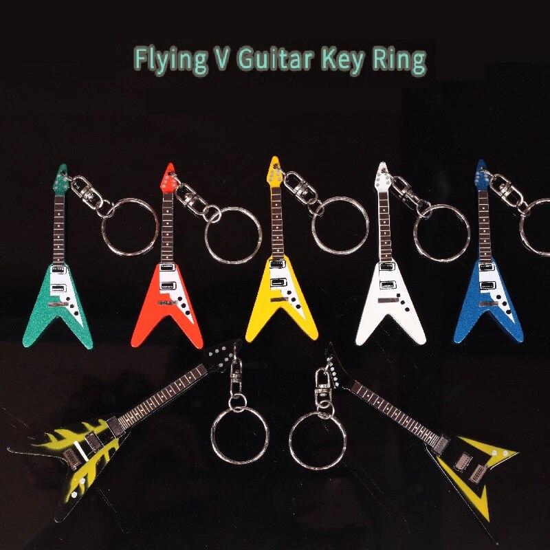 IM Gitarre Holz Keychain Mini Gitarre in Verschiedenen Form, Flying V Gitarre Form, ST Form, LP Gitarre Form