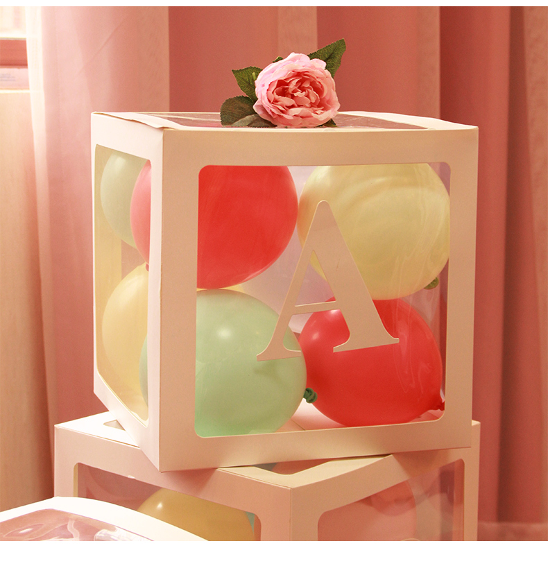 Transparent Balloon Box Blocks Square Balloon Box Wedding Birthday Party Decor Baby Shower Supplies