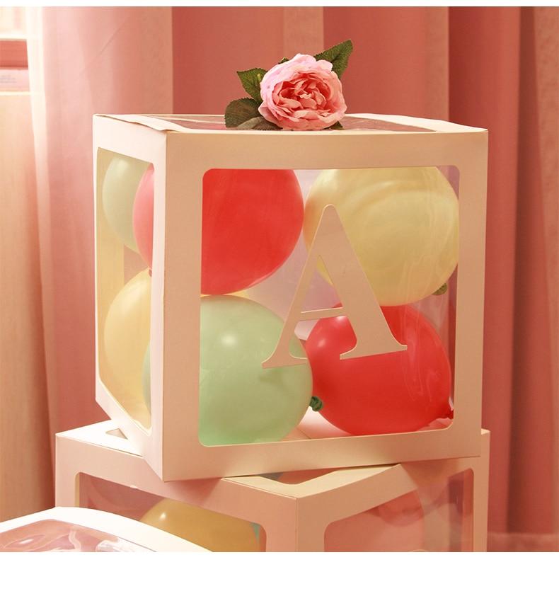 Transparent Balloon Box Blocks Square Balloon Box Wedding Birthday Party Decor Baby Shower Supplies