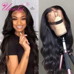 Ueenly cabelo humano frontal cabelo liso, 13x 4/13x6 perucas frontal, renda, pré selecionado, ondulado, corpo brasileiro 360 peruca frontal com cabelo remy