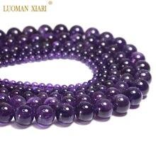 Top AAAA 100% naturalne ametysty fioletowy kwarc okrągły kamień naturalny koraliki do tworzenia biżuterii DIY bransoletka naszyjnik 4/6/8/10/12mm
