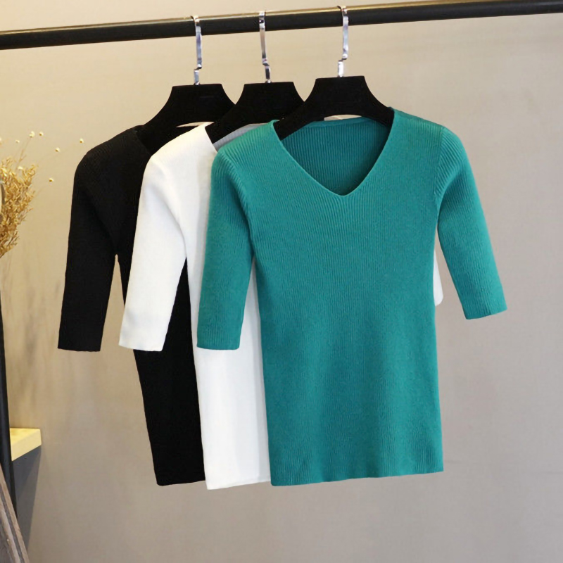White T Shirt Half Sleeve V Neck T Shirts For Women Korea Style Knitted Ladies Tops Casual