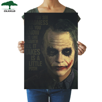 DLKKLB Joker DC Batman Dark Knight Vintage Poster Classic Movie Home Bedroom Decor 51.5x36cm Decorating Painting Wall Sticker image