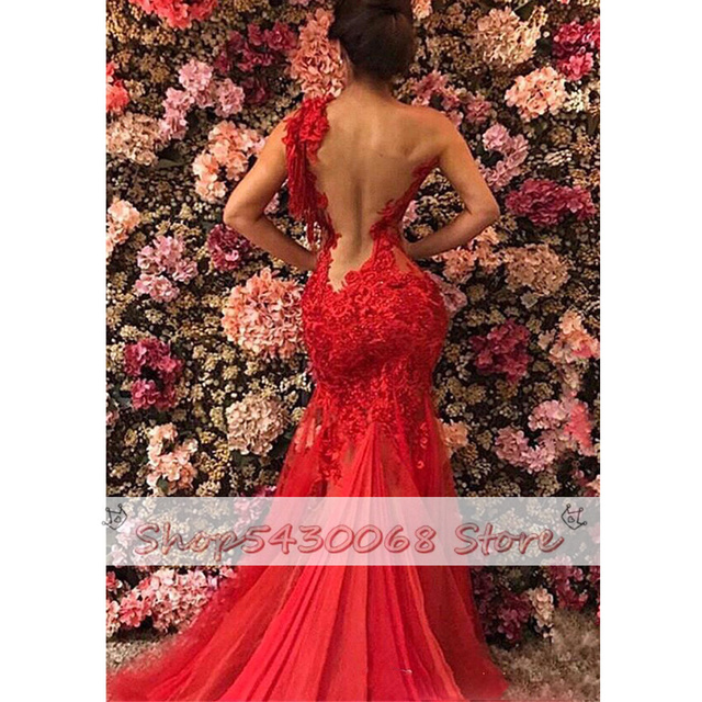 2021 Red Sheer See Through Backless Mermaid Prom Dresses Plus Size Lace Tulle One Shoulder Evening Gowns Sexy robe de soiree 3