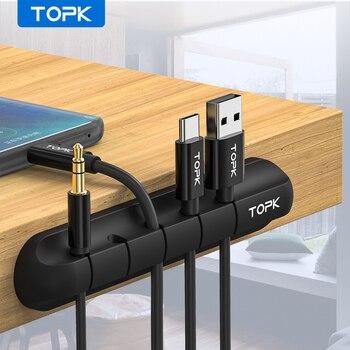 TOPK Organizzatore del Cavo Del Silicone USB Cavo Avvolgitore Desktop Ordinato di Gestione Pinze Cavo di Supporto per il Mouse Cavo Delle Cuffie 1