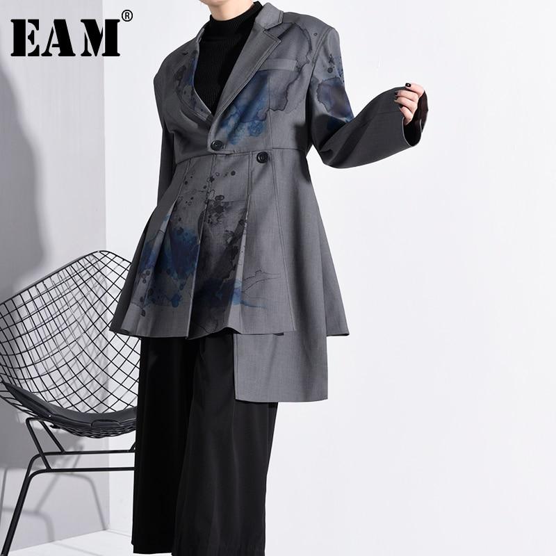 [EAM]  Women Pattern Print Asymmetrical Blazer New Lapel Long Sleeve Loose Fit  Jacket Fashion Tide Spring Autumn 2020 1N11902