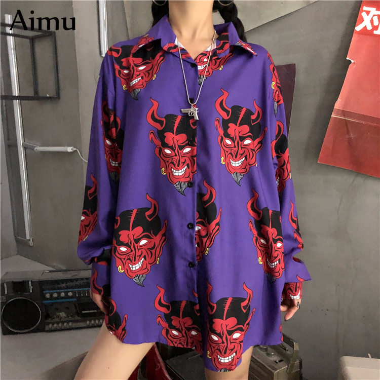 Harajuku Shirt Blusas Female Ulzzang Long Sleeve Women Blouse Srping Autumn Loose Gothic Devil Print Blouses Korean Womens Tops