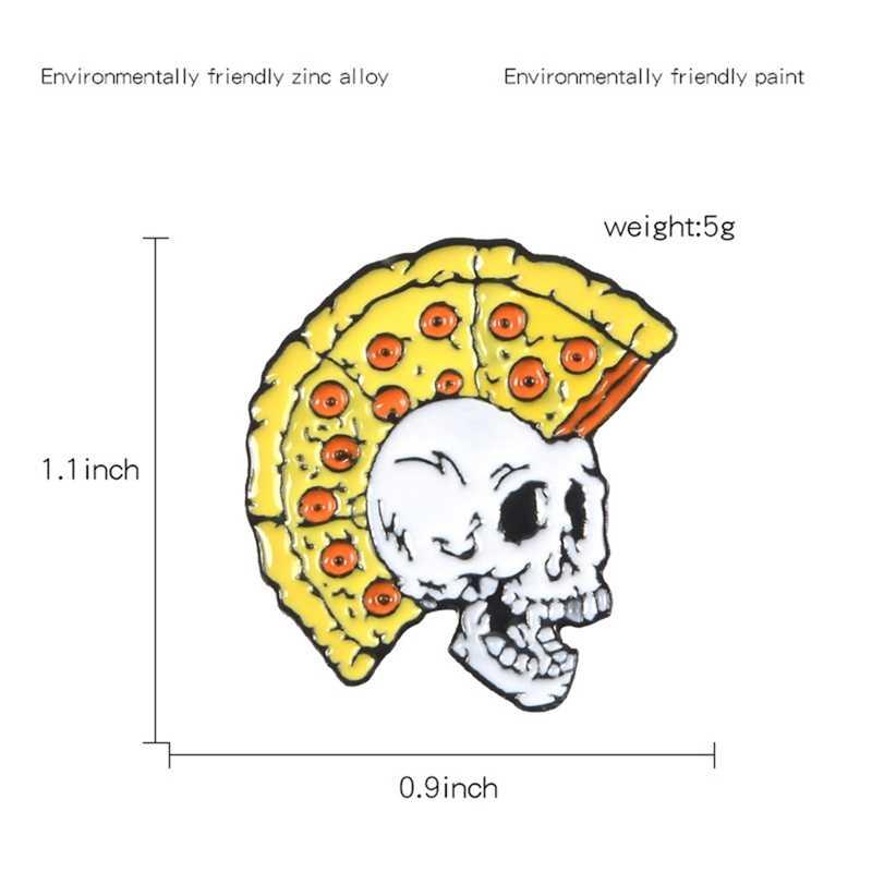 Del fumetto Distintivi e Simboli Vintage Pizza Skull Spille per le Donne Degli Uomini Punk Spilli Dei Monili Dello Smalto Spille Giubbotti jeans Collare Distintivo Sacchetto di Bigiotteria