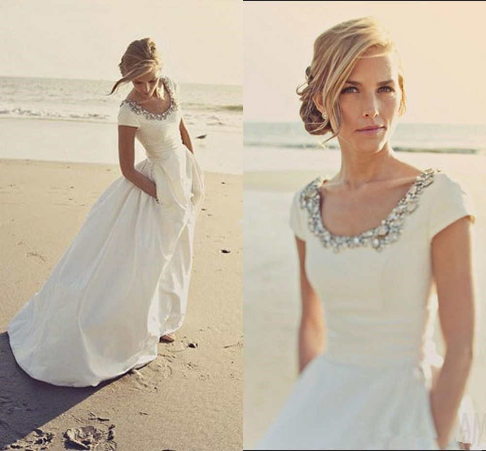 Vestido De Noiva 2019 Modern Wedding Dresses With Pockets And Short Sleeves Scoop Beading Cheap Spring Beach Wedding Bridal Gown