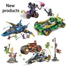 Compatível para crianças conjunto blocos de construção série ninja storm fighter noite carro motocicleta modelo brinquedo presente