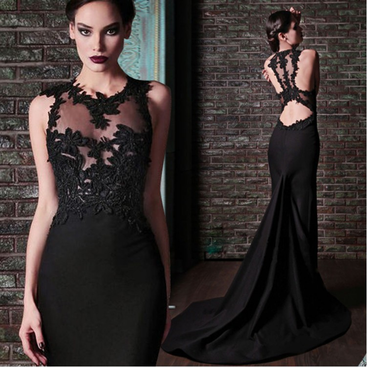 2018 Robe De Soiree Sexy Backless Mermaid With Applique Sheer Neck Sleeveless Long Black Party Prom Gown Bridesmaid Dresses