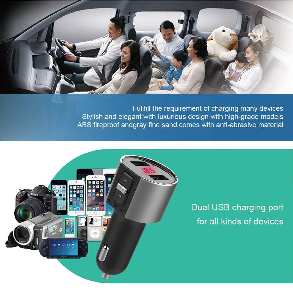 Bluetooth In-Car MP3 Player FM Wireless Transmitter 5V/3.4A Dual USB LCD Charger Kit Hands-free Calling Audio Receiver i#1204