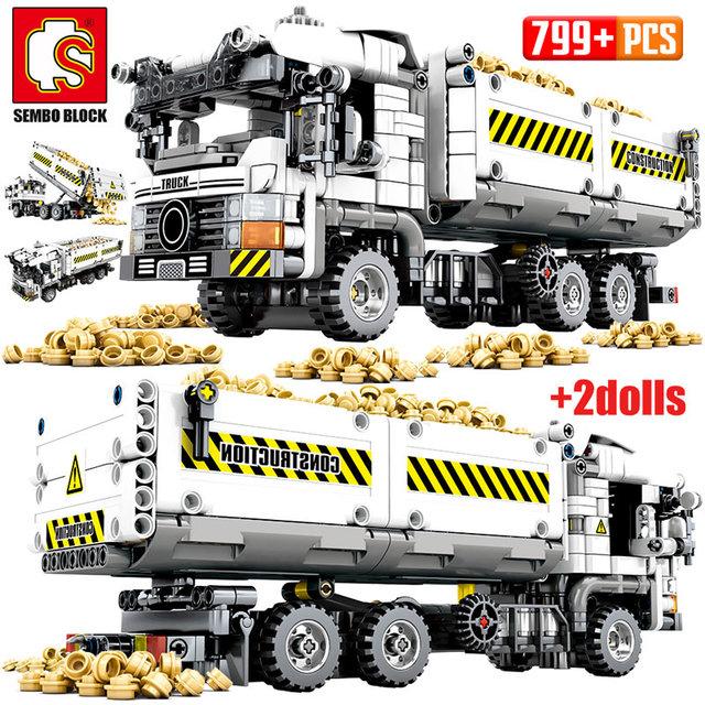 SEMBO 2020 NEW SEMBO 799pcs City Truck Building Blocks Technic Car Mechanical Earthmoving Vehicle Bricks Toys for Children
