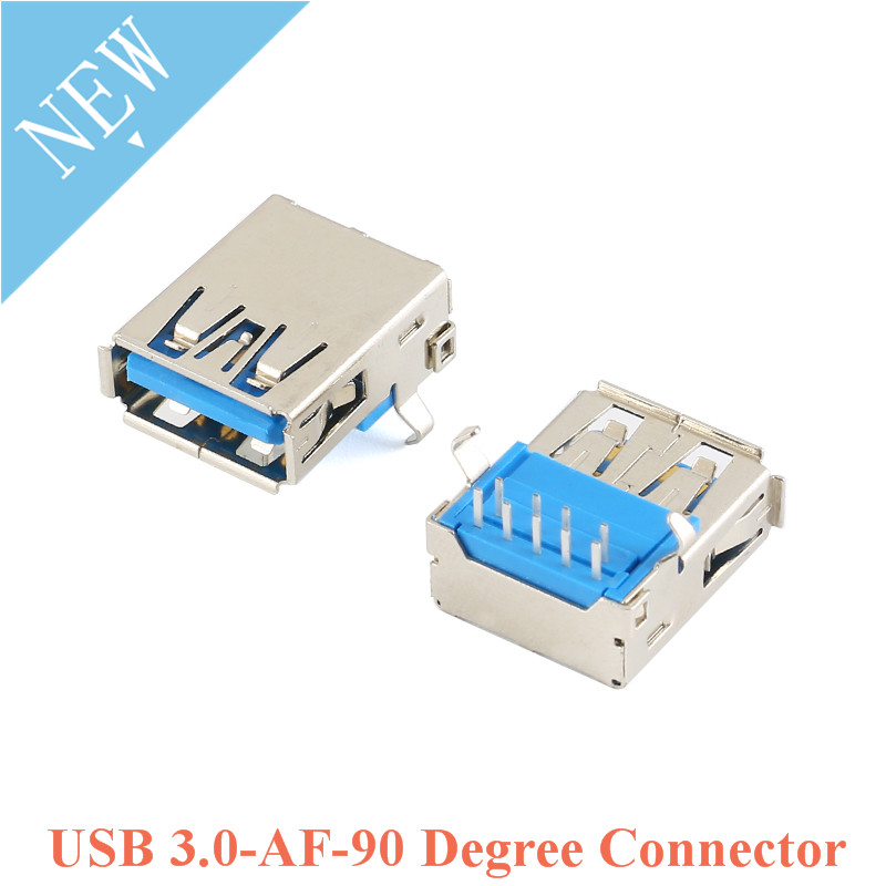 5pcs USB 3.0 Type A Plug Jack Connector Female Socket Right Angle 9 Pin 90 Degree DIP For U Disk Data Transmission Curved Mouth
