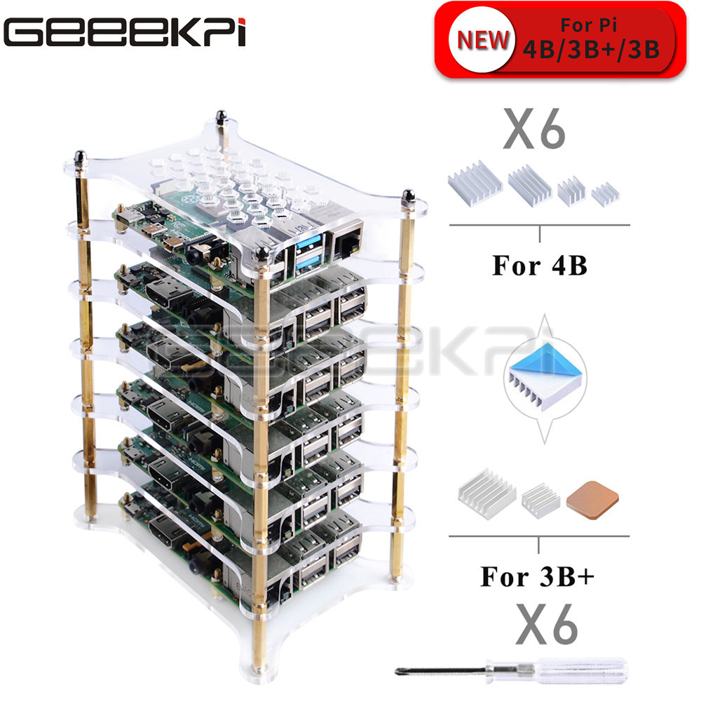 GeeekPi 6 Layer Transparent Clear / Dark Brown Acrylic Case With Heatsink Screwdriver For Raspberry Pi 4 B / 3B+ / 3B / 2B+