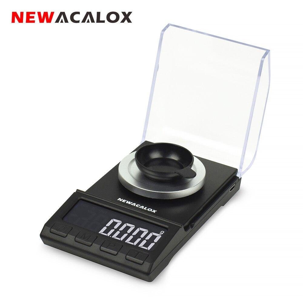 NEWACALOX 50g/100g * 0.001g Mini Balança Digital de Bolso para USB Equilíbrio de Ouro Jóias De Prata Esterlina alta Precisão Balanças Eletrônicas