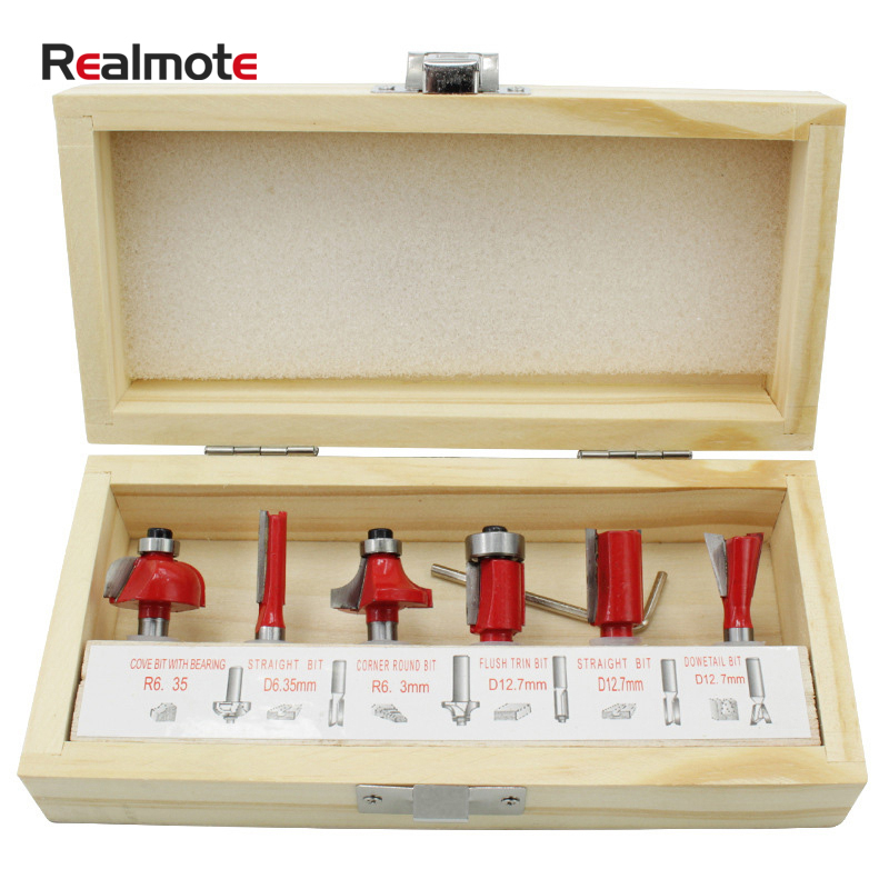 Realmote 6pcs 6.35mm Shank Tungsten Carbide Tipped Milling Cutter Wood Router Bit Set Bearing Woodworking Tool Box